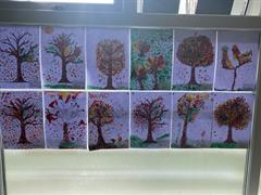 Pointillism Autumn Trees