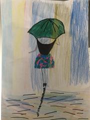 Girl With Umbrella- Spring Art